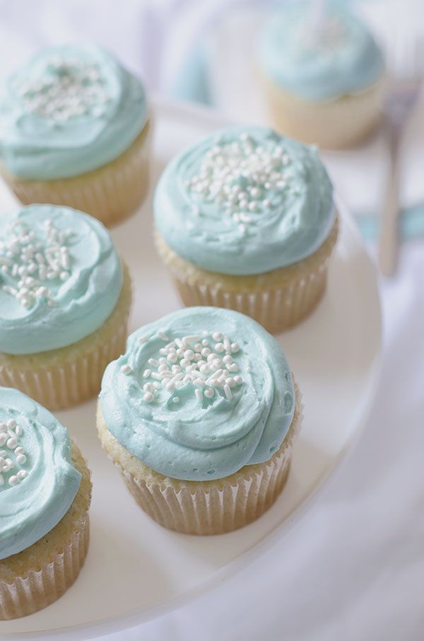 Vanilla Cupcakes - with light blue frosting. Maybe make for Father's Day.