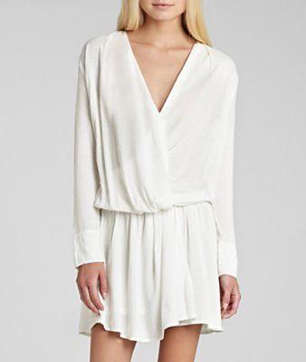 Beige Long Sleeve V-neck Drop Waist Draped Dress