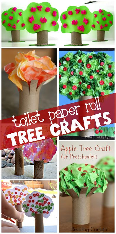 Toilet Paper Roll Tree Crafts for Kids to Make (Find apple trees, fall trees, jungle trees, and more!) #cardboard tubes | CraftyMorning.com