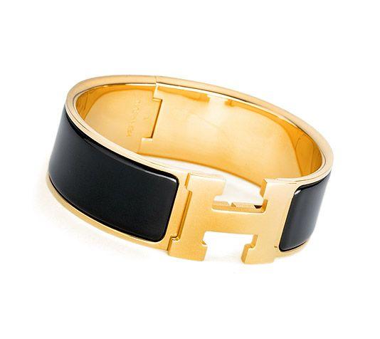 Clic-Clac H  Hermes wide bracelet  Black enamelGold plated hardware, 2.25 diameter, 7.5 circumference, 1 wide