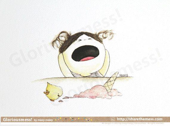 Quirky Ice Cream Misadventure A5 Art Print  Oh