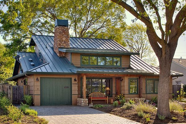 Low-maintenance metal roof comes with a 40 to 50-year warranty and the suggested finish is baked-on enamel.