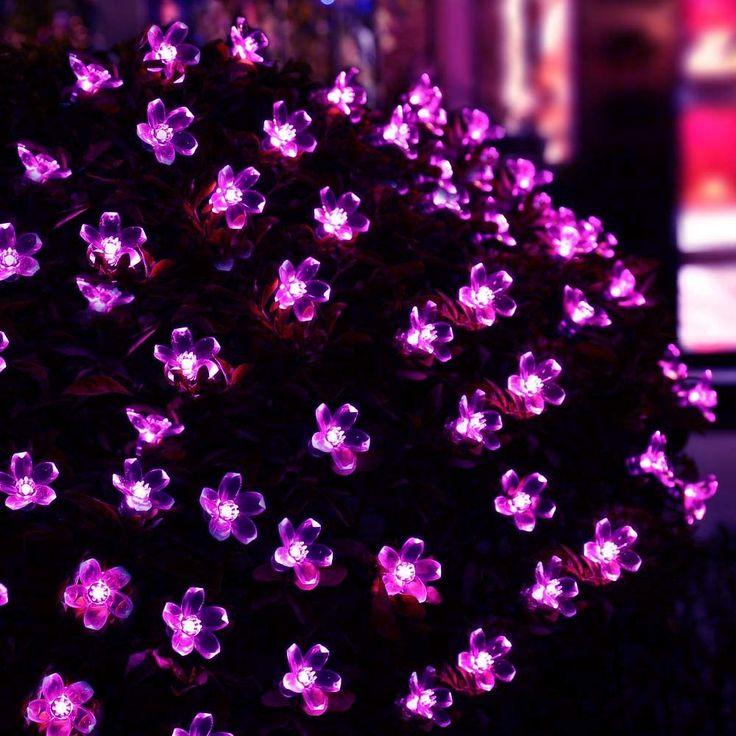 新しいホットソーラーフェアリーストリングライトフィート50 led紫の花装飾庭園、芝生、パティオ、クリスマスツリー、結婚式、パーティー