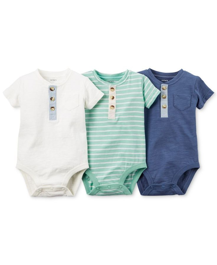 Carter's Baby Boys' 3-Pack Henley-Style Short-Sleeve Bodysuits - gibt's bei Zalando