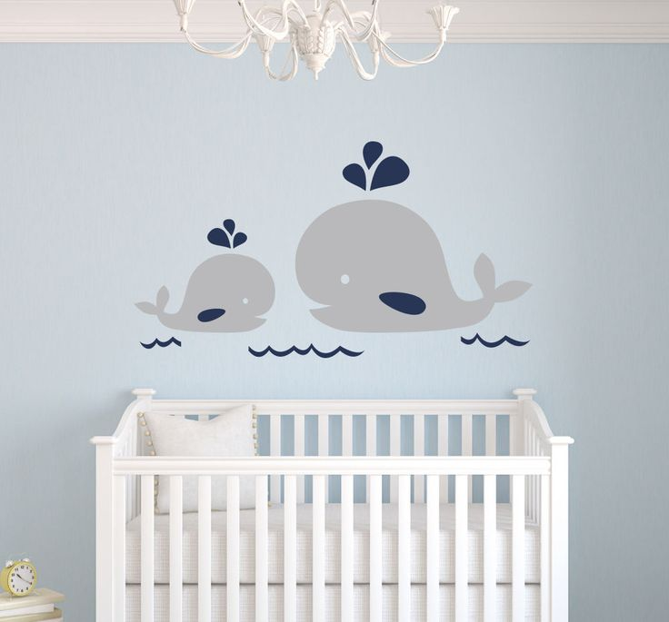 Nautical Mom and Baby Whale Wall Decal - Nautical Decor - Baby Nursery Decor #Nautical