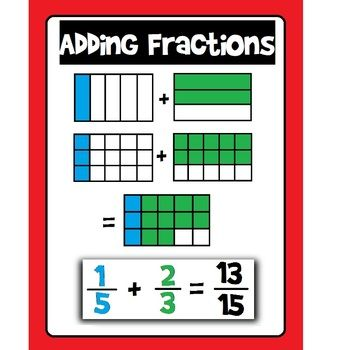 Free fraction addition poster
