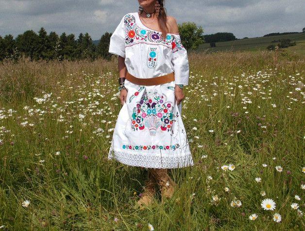Kleider - 46/48 *WHITE BOHEMIAN* Boho Kleid  bestickt Mexico - ein Designerstück von santa-fee bei DaWanda