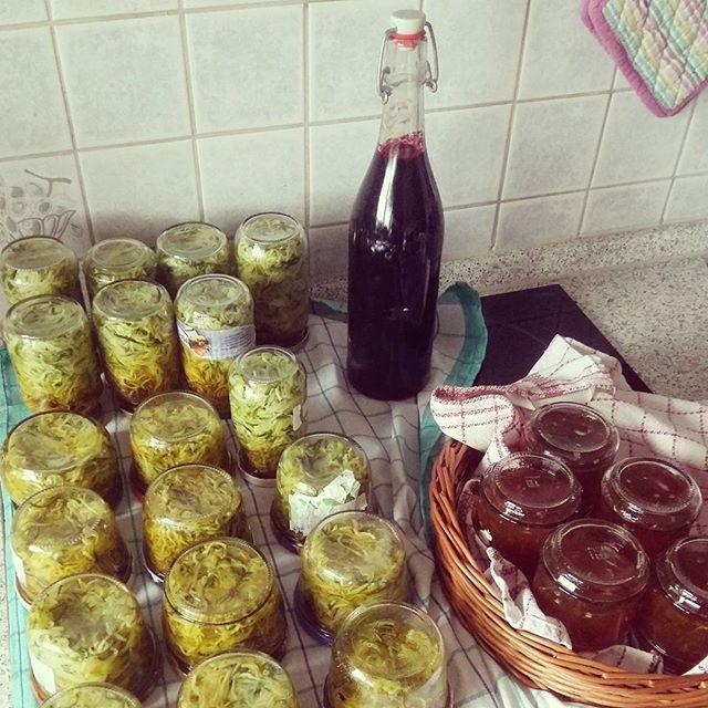 4 kg Zucchini in Streifen gehobelt ... 1 Liter Aroniasaft ausgequetscht ... Chili in 1,5 Liter Saft das schwimmen beigebracht ... und während sich alles selber einmacht, geht's mit ein wenig kreativer Handarbeit weiter #einmachen #gemüseistmeinfleisch #einkochen #fürfaule #haltbarmachen #selbermachen #selbstgemachtschmecktambesten #food #veganfood #vegan #sommerliebe #sommer #saft #gelee #marmelade #aufstrich #zucchini #saftkur #kreativblog