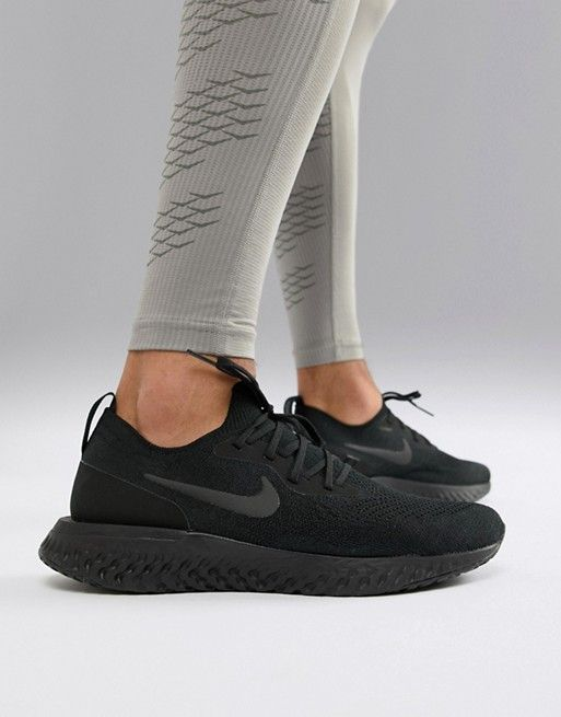 1cb71110b96fe Nike Running Epic React Flyknit trainers in triple black aq0067-003 ...