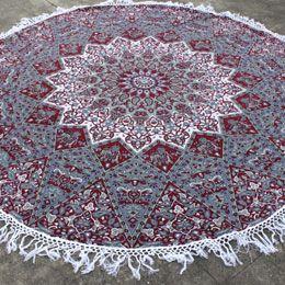 Maroon Sun Star Round Mandala towel with tassel