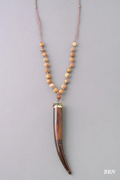 Large Wood Tusk Pendant Necklace