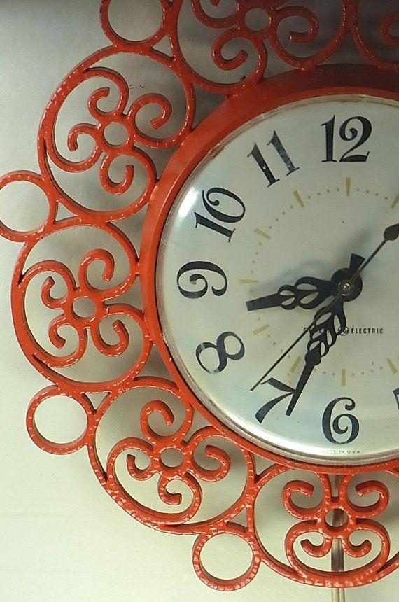 Vintage Orange Clock Electric Kitchen Clock Just Painted