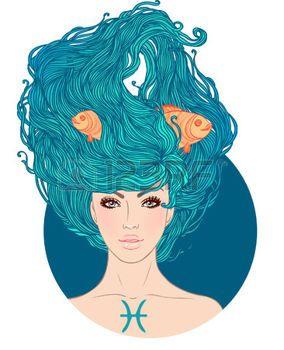 Иллюстрация Рыбы астрологический знак в виде красивой девушки. Вектор. . Изолированные на белом. photo