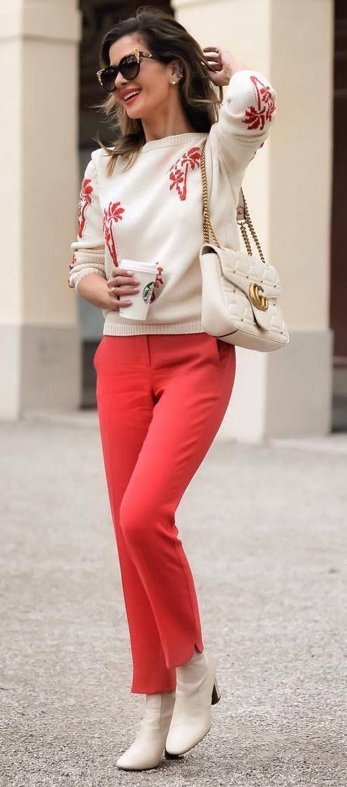 printed sweater + red pants + bag