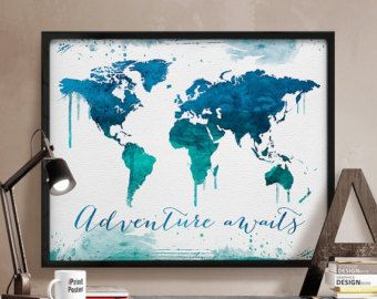 Great World map poster Watercolor World map Art Print by iPrintPoster