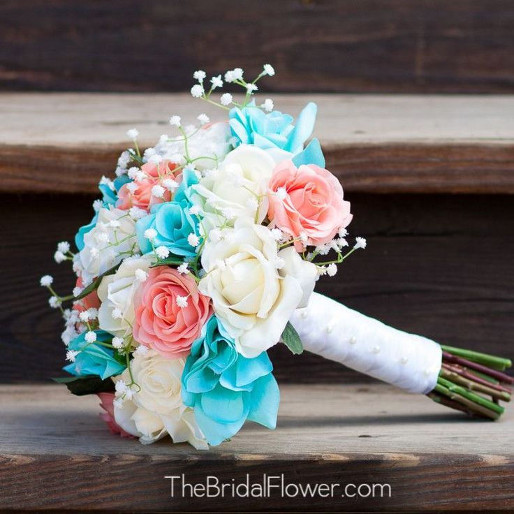 Coral and tiffany blue real touch and silk wedding bouquet set | The Bridal Flower