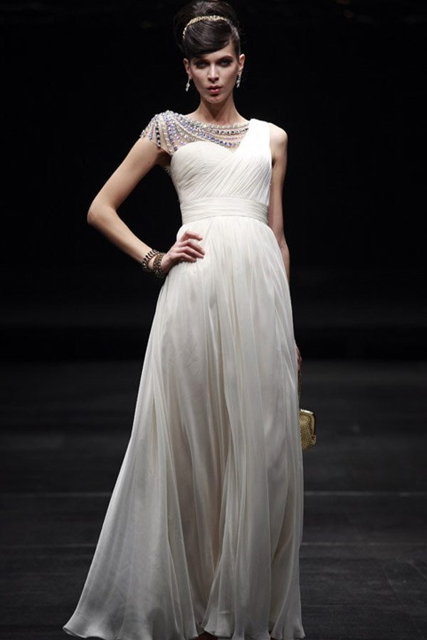 Column Sweetheart One Shoulder With Beading Natural Waist