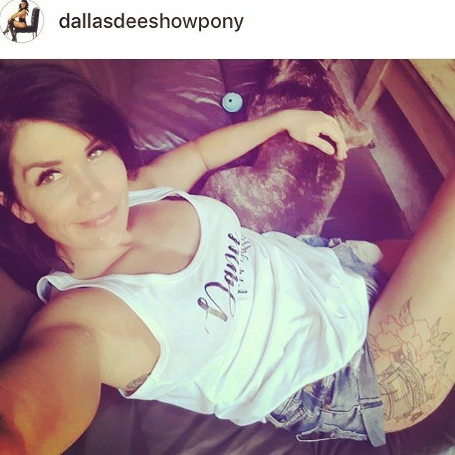 The gorgeous and infamous @dallasdeeshowpony in her #danceforadifference tank raising money for a great cause #spinalcure check out her page for more deets ! Happy to help make Merch for great causes and clients #merch #charity #fundraiser #pole #poledancer #polefamous #showpony #polesuperstar #poledancing #frenchie #tattoo #girlswithtattoos #killingit