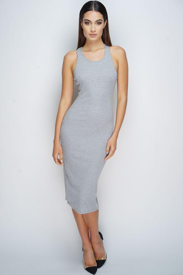 Sadie Midi Dress - Heather Grey