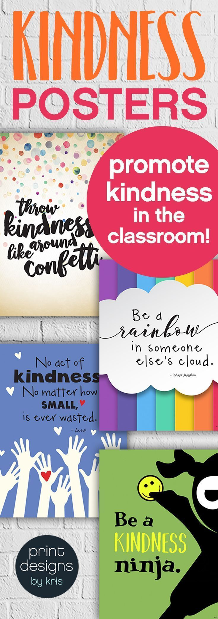 Promote kindness in the school classroom with these fun and unique kindness posters. Hang them in your classroom or the school hallway to remind students every day about the importance of kindness and how you treat others. Click the link to check them out