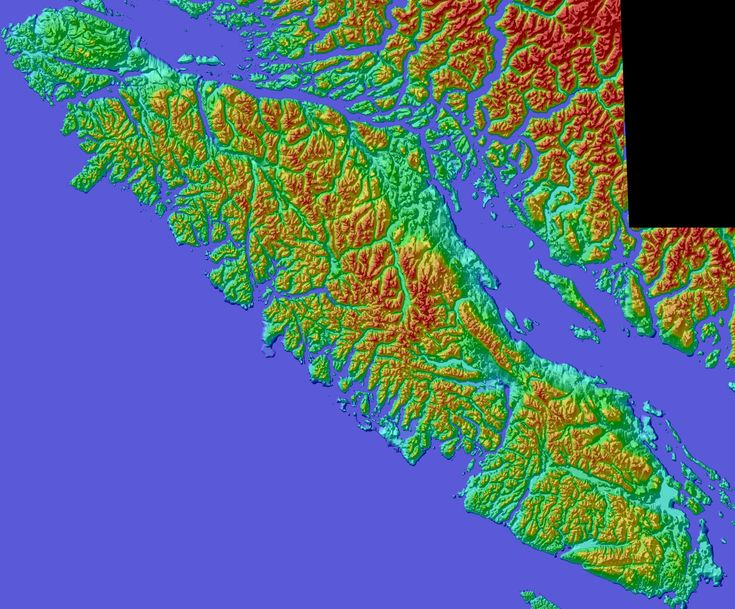 3D Color Shaded Relief Model Vancouver Island, British Columbia