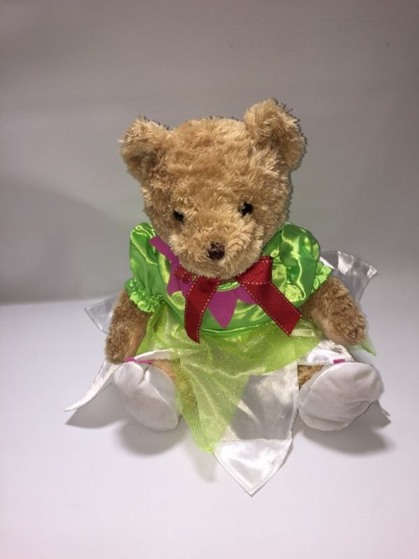 "HAMLEYS 12"" BROWN TEDDY BEAR Red BOW PLUSH SOFT TOY Green /Pink Dress and shoes in Dolls & Bears, Bears, Other Bears 