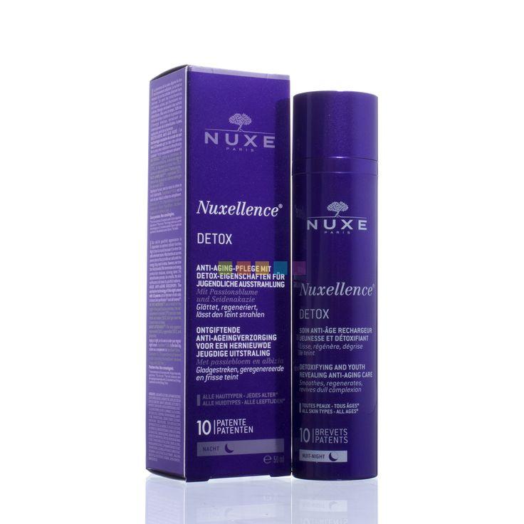 Nuxe Nuxellence Détox   50 ml  Deze antiverouderingsverzorging voor het gelaat met 10 patenten, met onder meer passiebloem en zijdeboom, is de eerste nachtverzorging die inwerkt op de kern van de huidcellen om de ontgifting van de huid en de celvernieuwing te verbeteren, zodat de huidcellen worden geholpen om een optimaal energieniveau te behouden. Bij het ontwaken is de vale teint verdwenen en heeft de huid een frisse uitstraling alsof je 2 uur meer hebt geslapen.