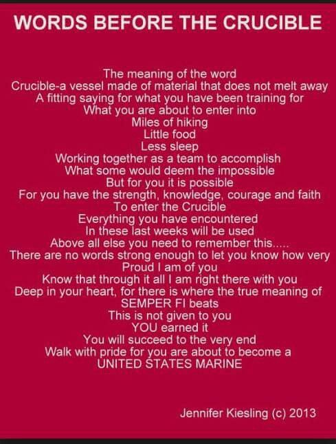 At 2am my son and his brothers begin the final test of USMC boot camp, The Crucible, 54 hours of hell.....enter recruits, exit Marines. Good luck Bray,  you got this
