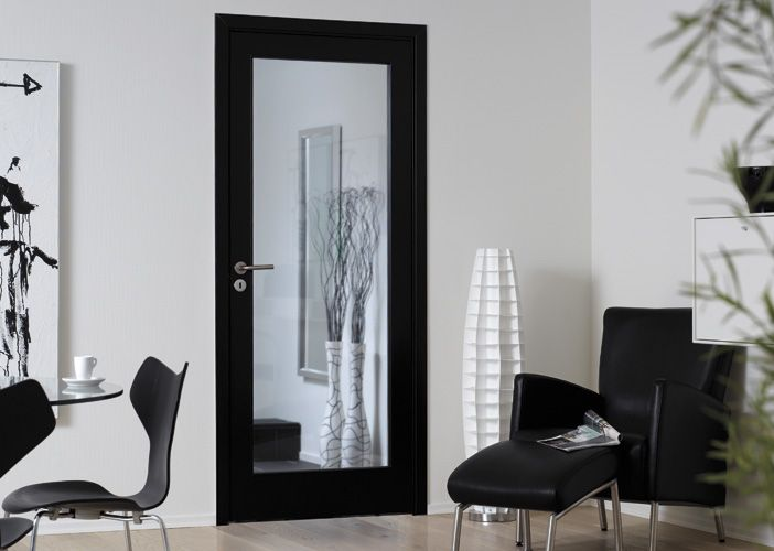 Svart dør med speil Unique fra Swedoor