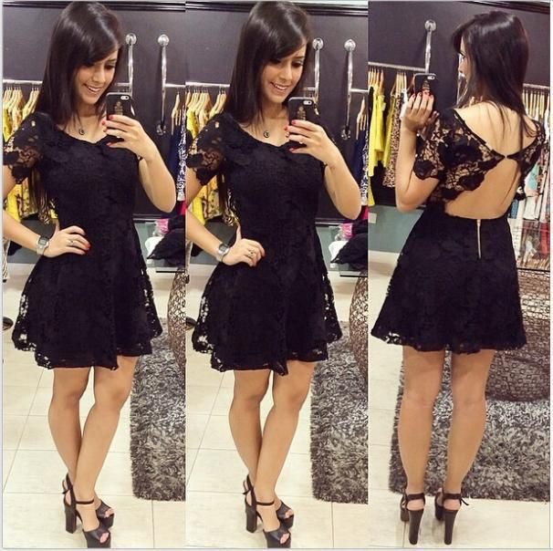 Slim Short sleeved lace dress