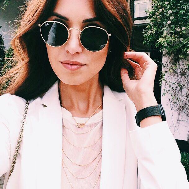 White blazer round sun glasses. Details. Everything. Ray Ban Round Metal