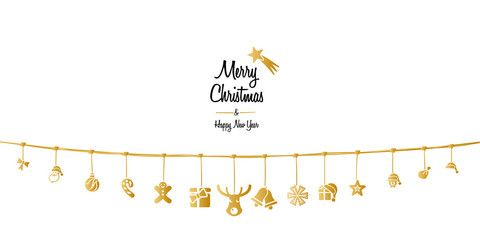 Christmas ornaments hanging on a golden rope isolated on white background