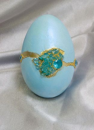 Blue duck egg set with Blue Topaz and by CrystalheartCreation, $70.00