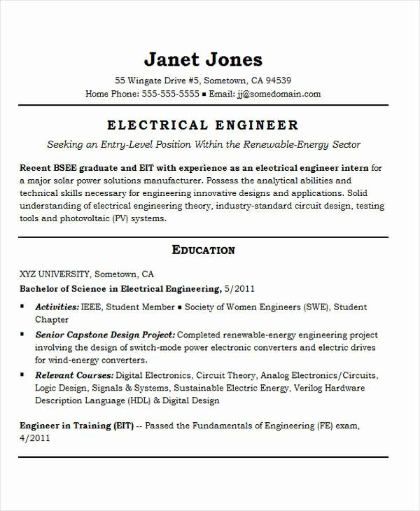 Entry Level Electrical Engineering Resume Awesome 25 Best Engineering Resume Templates Pdf D Engineering Resume Engineering Resume Templates Job Resume Samples