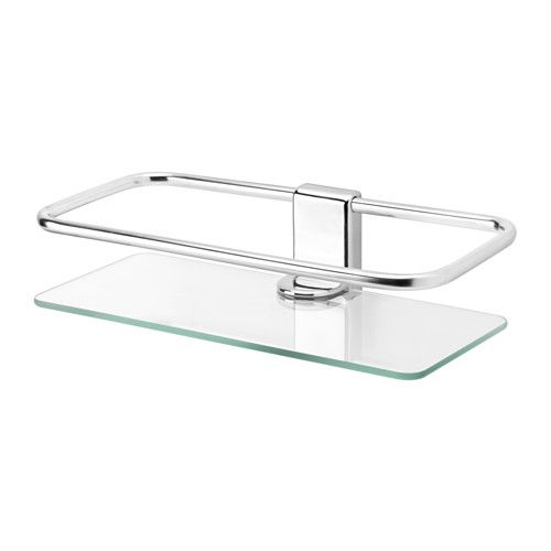 KALKGRUND Shower shelf IKEA Tempered glass - extra resistant to heat, impact and heavy loads. No visible screws, as the hardware is concealed.