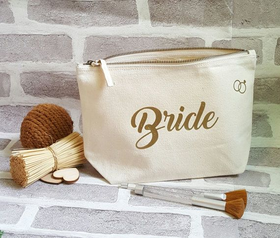 Personalizzato sacchetto di trucco da sposa di ForgetMeKnotWed