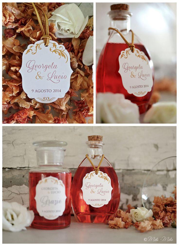 Etichette per bomboniere: bottiglie di liquore - Etiquettes pour cadeaux de mariage aux invités: bouteilles de liqueur - Wedding liquor favor tags by Méli-Mélo | Graphic Design
