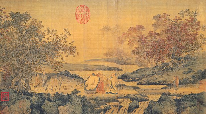 "Song Dynasty painting with theme of ""Confucianism, Taoism and Buddhism are one"""