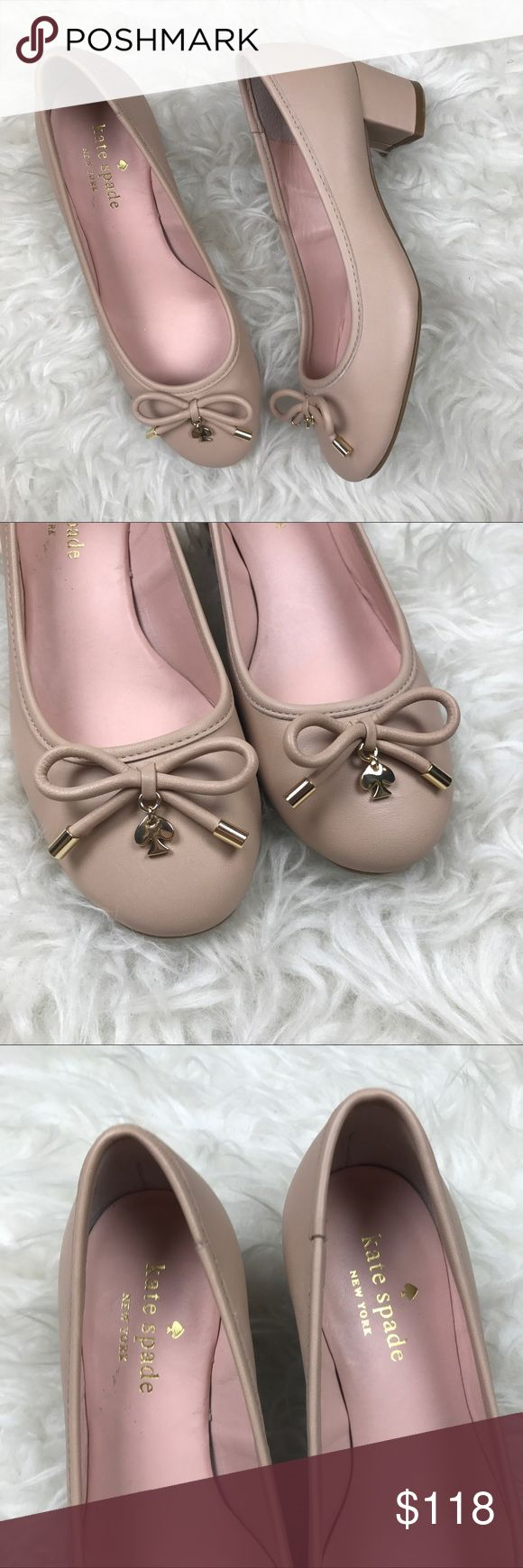"Kate Spade Nude Ballet Pump Excellent, like new condition Kate Spade Nude Ballet Pump. Size 5.5, Block Heel is 1.5"". Rounded toe, sweet bow with Spade charm. Left shoe has tiny knick on toe. All leather. No trades, offers welcome. No trades, offers welcome. kate spade Shoes Heels"