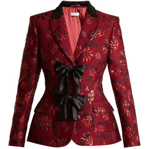 Altuzarra Angela single-breasted floral-brocade blazer ($2,495) ❤ liked on Polyvore featuring outerwear, jackets, blazers, coats, jacket's, burgundy print, blazer jacket, metallic jackets, burgundy blazer and collar jacket