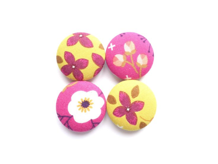 Flower Magnets, Floral Magnets, Yellow Magnets, Hot Pink Magnets, Gift for Her, Fridge Magnets, Refrigerator Magnets, Strong Magnets by BijouxMariePuce on Etsy
