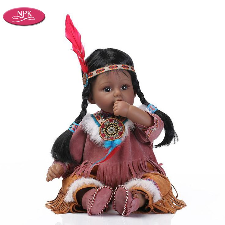 """Cheap reborn baby doll, Buy Quality realistic baby doll directly from China soft body Suppliers: NPK Soft Body Native American Indian Reborn Babies Doll Girl Black Skin 20"""" 50CM Lifelike Realistic Baby Doll Toys Toddle Gift"""