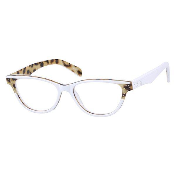 dbdc6d7f1b2 Zenni Womens Cat-Eye Prescription Eyeglasses White Leopard Print ...