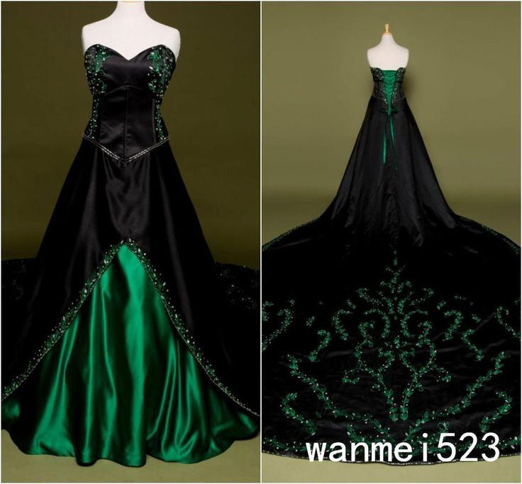 2018 Green Black Gothic Wedding Dress Embroidery Cathedral Victorian Bridal Gown