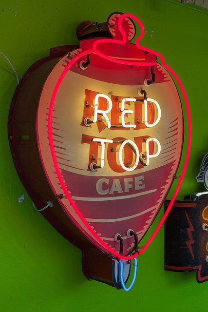Red Top Cafe neon sign. I think this is one of the signs made by Roadhouse Relics in Austin, Texas.