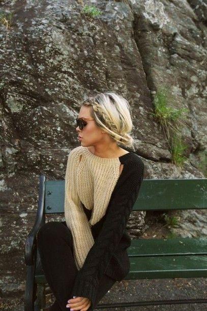 shirt tan black long sleeve sweater love