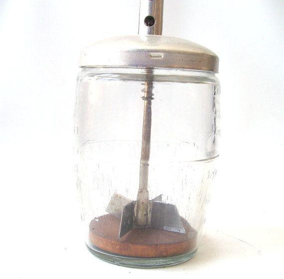 Decorative Vegetable Jars: Vintage Vegetable Nut Chopper Glass Jar Mincer Kitchen