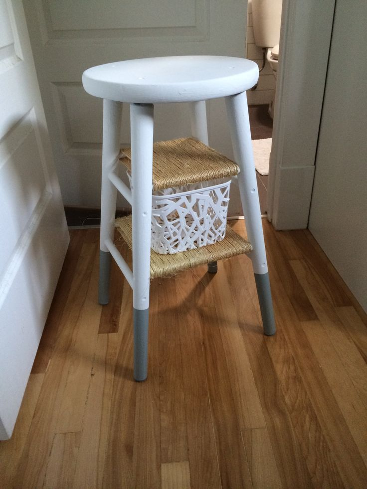 Old Stool Revamp To Bedside Table.