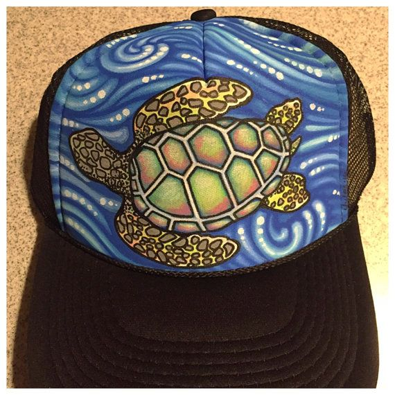 Sea turtle waves hand painted trucker hat by JulesJewelsJewelry