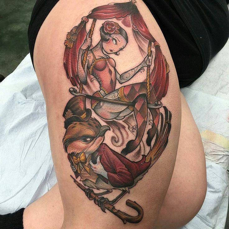 Swinging Lady Bird Collaboration by @davekoenigart at Tenth Sanction Tattoo in Omaha Nebraska and @scottymunster at Olde Town Tattoo in Saint Cloud Minnesota. #collaboration #swing #bird #swinginglady #twoofakind #davekoenigart #scottymunster #tenthsanctiontattoo #oldetowntattoo #omaha #stcloud #saintcloud #nebraska #minnesota #niteowltattoomass #tattoo #tattoos #tattoosnob
